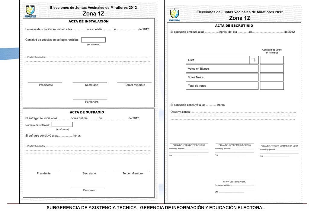 SUBGERENCIA DE ASISTENCIA TÉCNICA - GERENCIA DE INFORMACIÓN Y EDUCACIÓN ELECTORAL