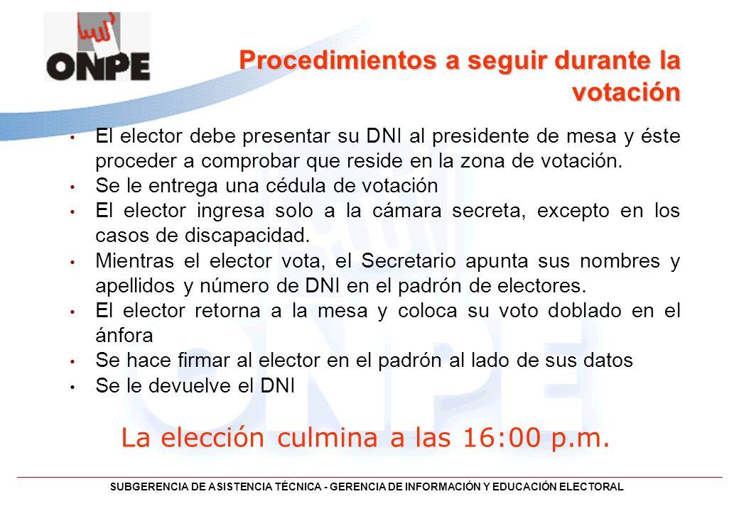 Procedimientos a seguir durante la votación El elector debe presentar su DNI al presidente de mesa y éste proceder a comprobar que reside en la zona d