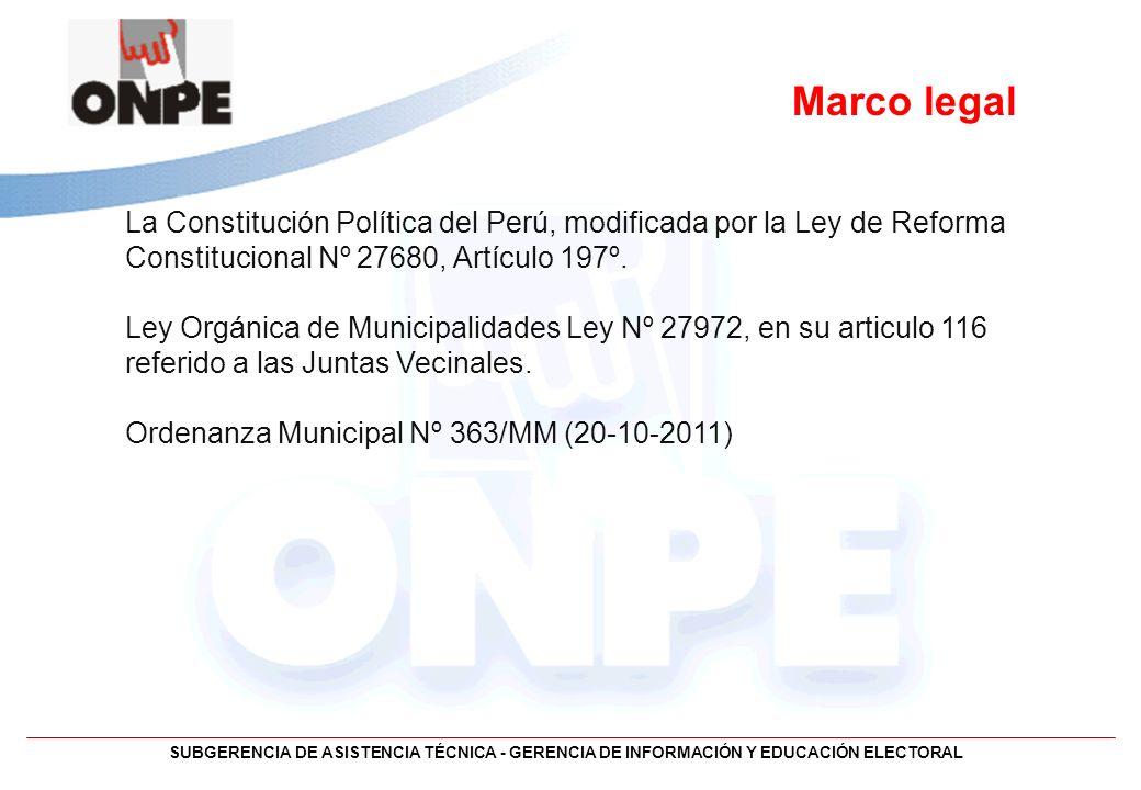 SUBGERENCIA DE ASISTENCIA TÉCNICA - GERENCIA DE INFORMACIÓN Y EDUCACIÓN ELECTORAL Marco legal La Constitución Política del Perú, modificada por la Ley
