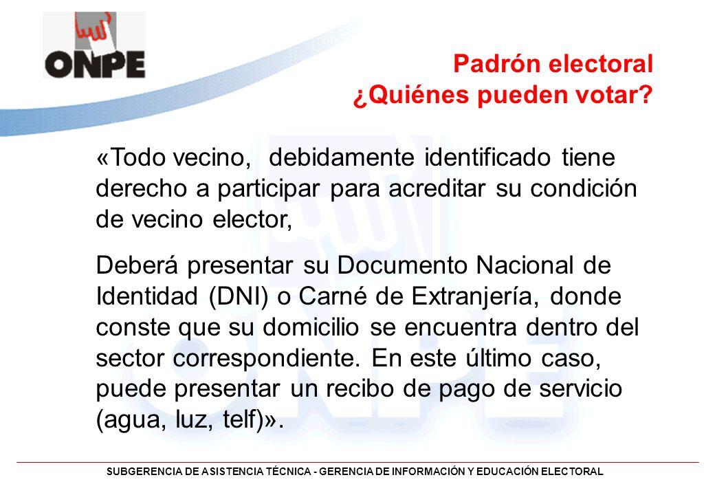 SUBGERENCIA DE ASISTENCIA TÉCNICA - GERENCIA DE INFORMACIÓN Y EDUCACIÓN ELECTORAL Padrón electoral ¿Quiénes pueden votar? «Todo vecino, debidamente id
