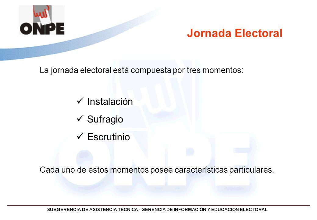 SUBGERENCIA DE ASISTENCIA TÉCNICA - GERENCIA DE INFORMACIÓN Y EDUCACIÓN ELECTORAL Jornada Electoral La jornada electoral está compuesta por tres momen