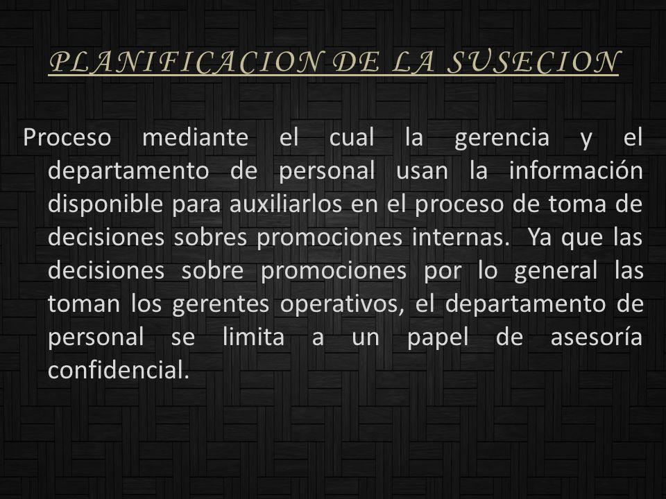 PLANIFICACION DE LA SUSECION Proceso mediante el cual la gerencia y el departamento de personal usan la información disponible para auxiliarlos en el