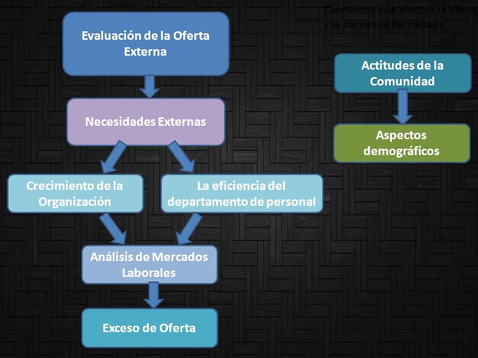 Evaluación de la Oferta Externa Necesidades Externas Crecimiento de la Organización La eficiencia del departamento de personal Análisis de Mercados La