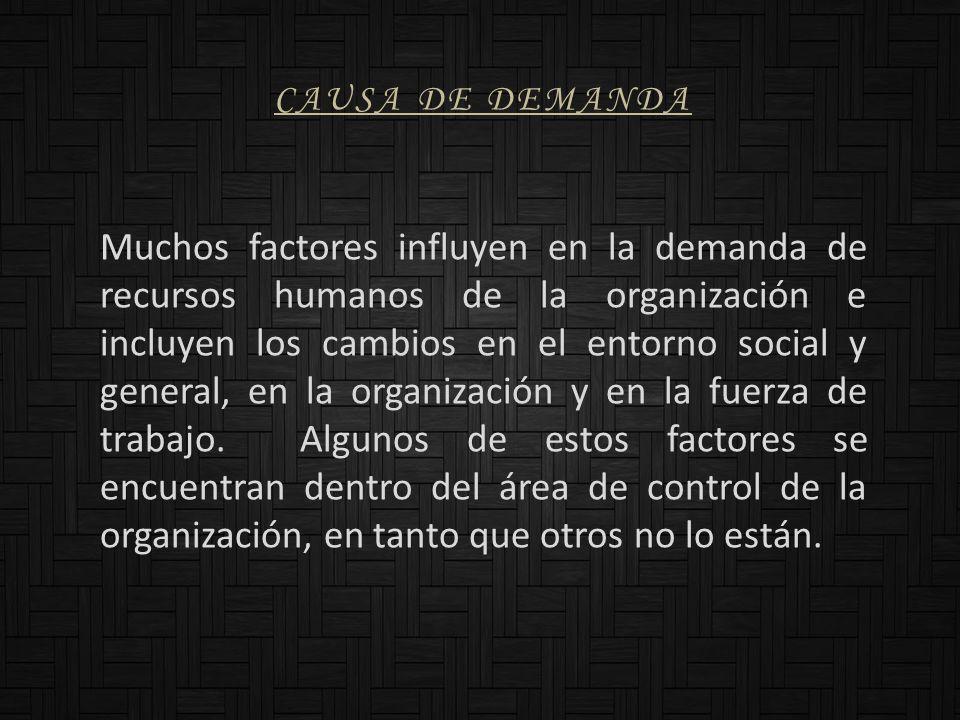 CAUSA DE DEMANDA Muchos factores influyen en la demanda de recursos humanos de la organización e incluyen los cambios en el entorno social y general,