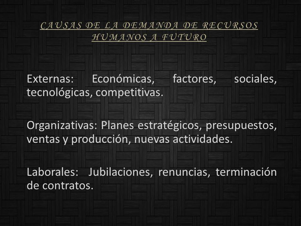 CAUSAS DE LA DEMANDA DE RECURSOS HUMANOS A FUTURO Externas: Económicas, factores, sociales, tecnológicas, competitivas. Organizativas: Planes estratég