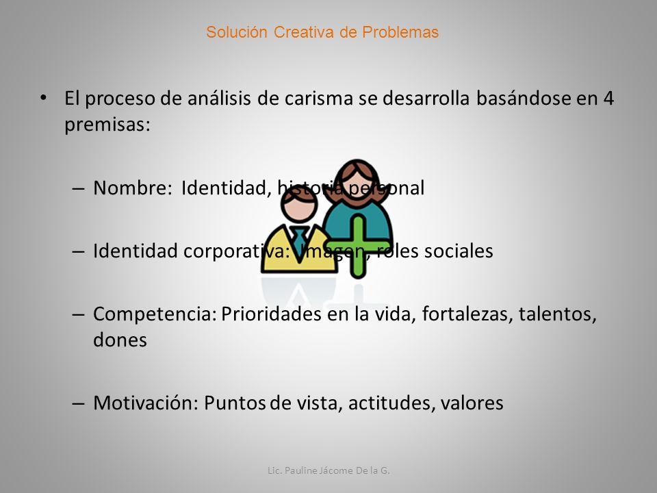 El proceso de análisis de carisma se desarrolla basándose en 4 premisas: – Nombre: Identidad, historia personal – Identidad corporativa: Imagen, roles