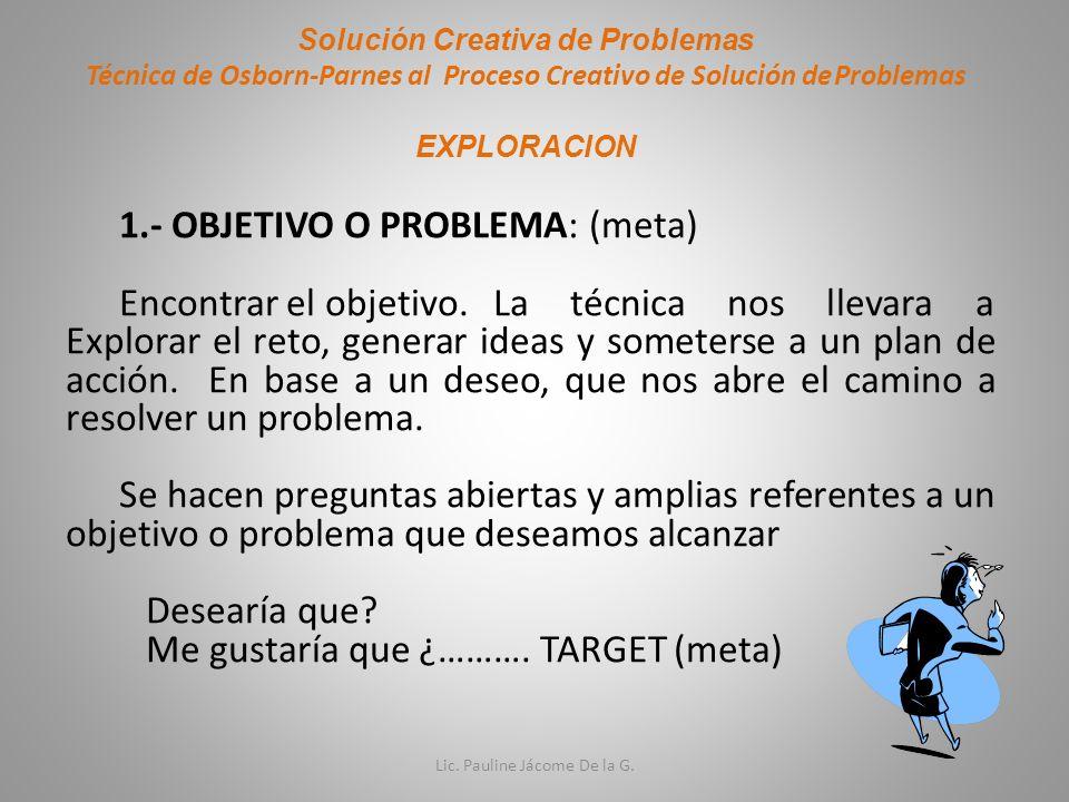 Solución Creativa de Problemas Técnica de Osborn-Parnes al Proceso Creativo de Solución deProblemas EXPLORACION 1.- OBJETIVO O PROBLEMA: (meta) Encont