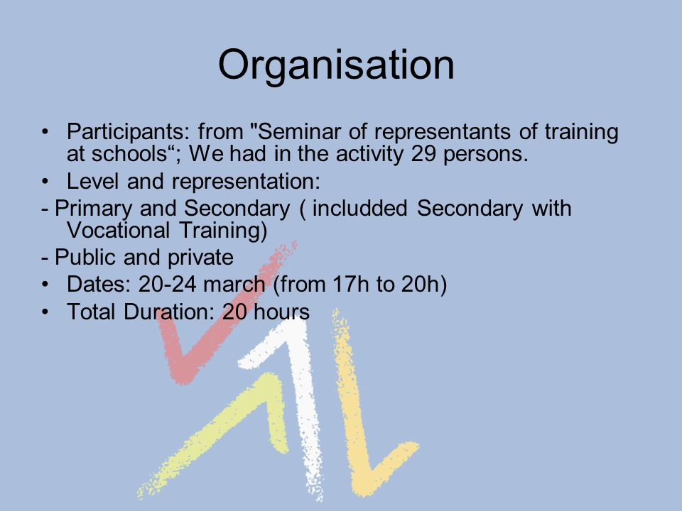 Organisation Participants: from Seminar of representants of training at schools; We had in the activity 29 persons.