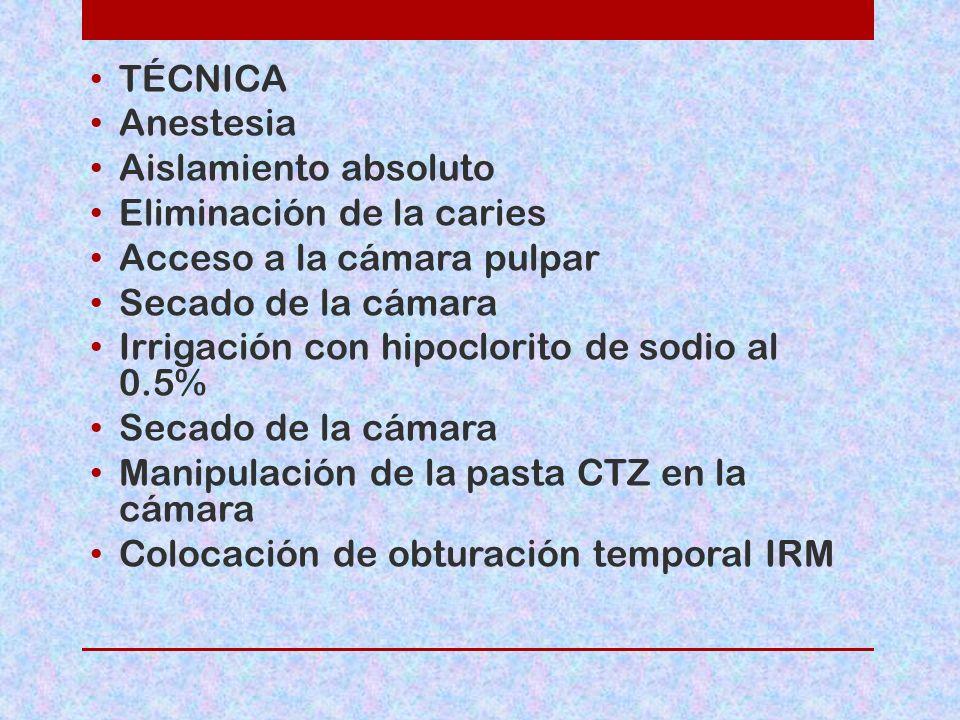 TÉCNICA Anestesia Aislamiento absoluto Eliminación de la caries Acceso a la cámara pulpar Secado de la cámara Irrigación con hipoclorito de sodio al 0