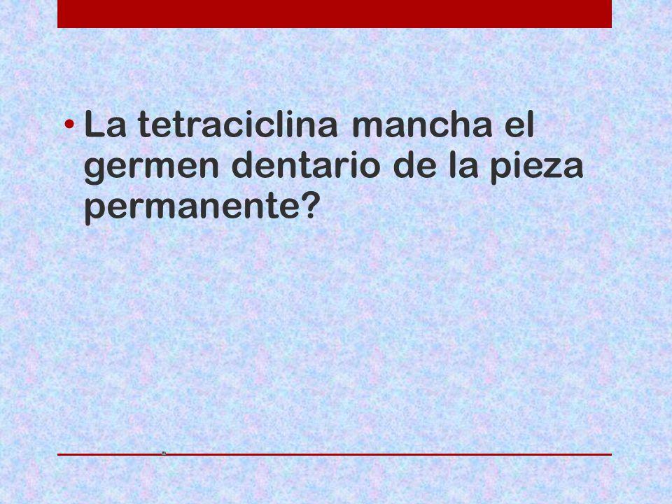 La tetraciclina mancha el germen dentario de la pieza permanente?