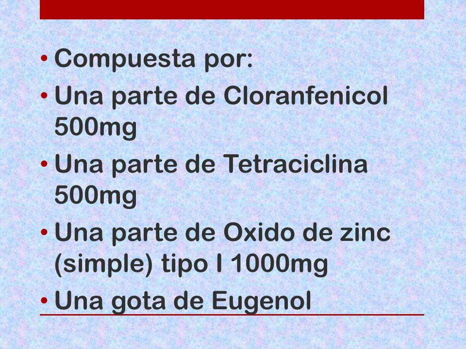 Compuesta por: Una parte de Cloranfenicol 500mg Una parte de Tetraciclina 500mg Una parte de Oxido de zinc (simple) tipo I 1000mg Una gota de Eugenol