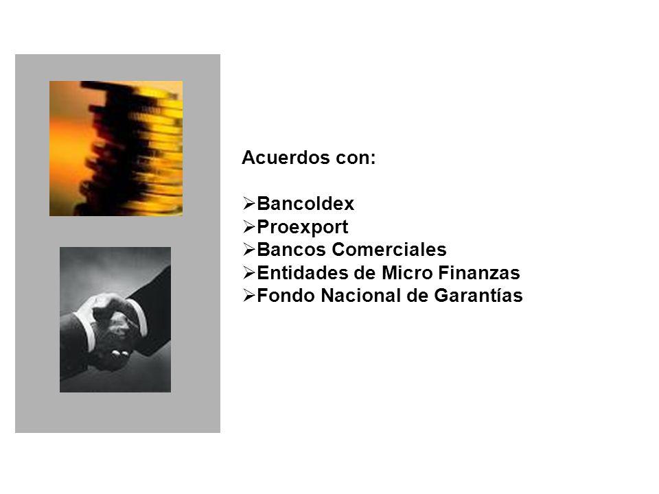 Acuerdos con: Bancoldex Proexport Bancos Comerciales Entidades de Micro Finanzas Fondo Nacional de Garantías Financiero PYME