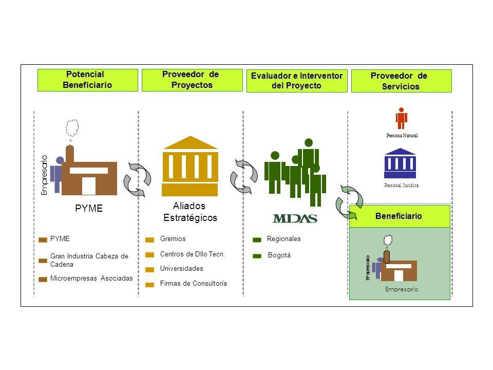 Aliados Estratégicos Beneficiario Proveedor de Servicios PotencialBeneficiario Proyectos Evaluador e Interventor del Proyecto PYME Firmas de Consultoría Centros de Dllo Tecn.