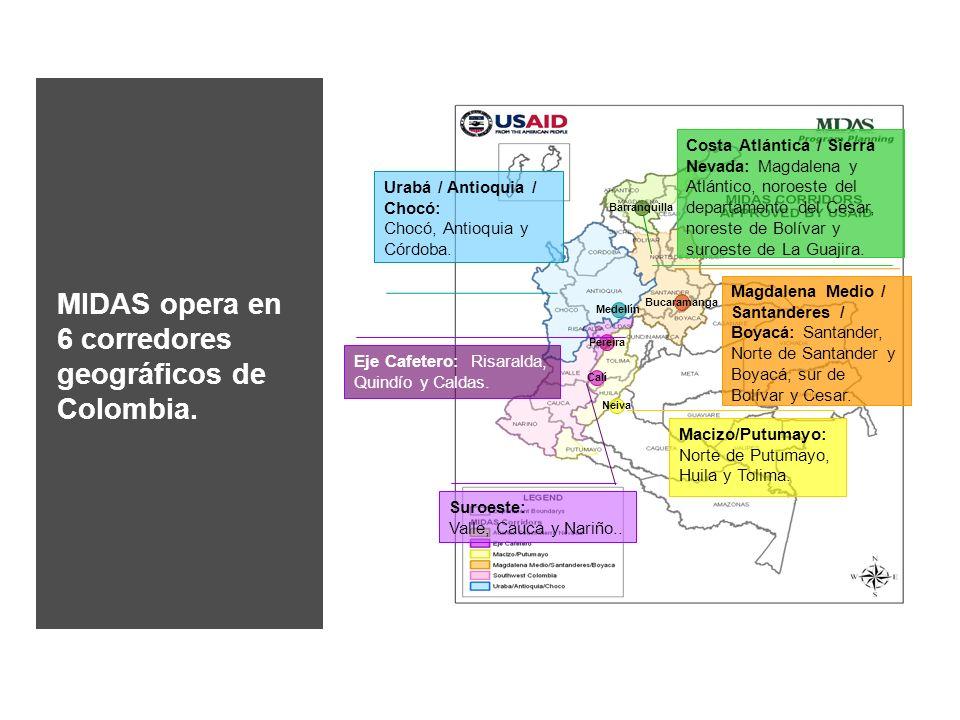 MIDAS opera en 6 corredores geográficos de Colombia.