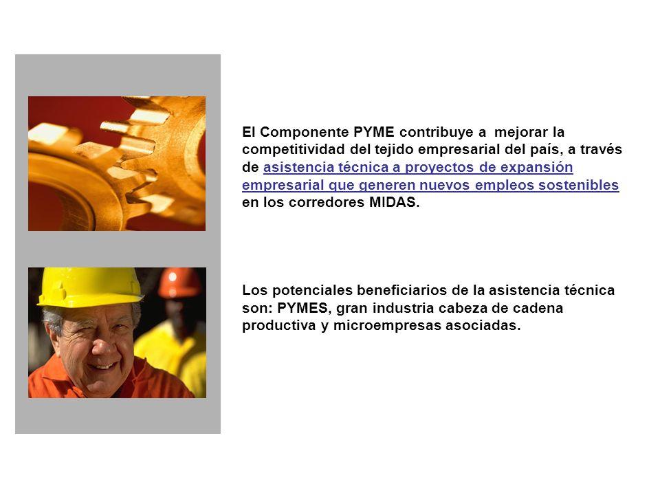 El Componente PYME contribuye a mejorar la competitividad del tejido empresarial del país, a través de asistencia técnica a proyectos de expansión empresarial que generen nuevos empleos sostenibles en los corredores MIDAS.