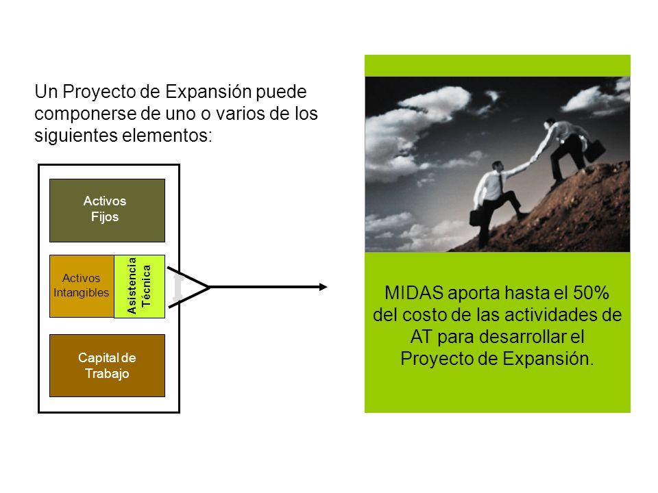 MIDAS aporta hasta el 50% del costo de las actividades de AT para desarrollar el Proyecto de Expansión.