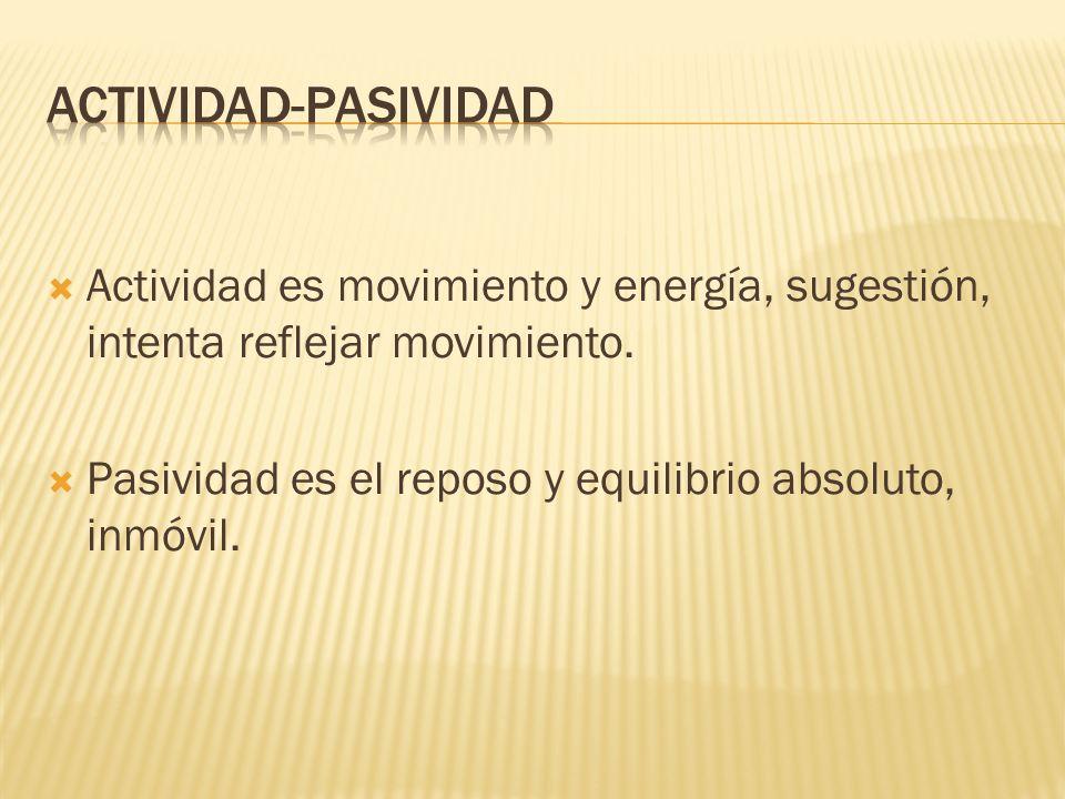 Actividad es movimiento y energía, sugestión, intenta reflejar movimiento.