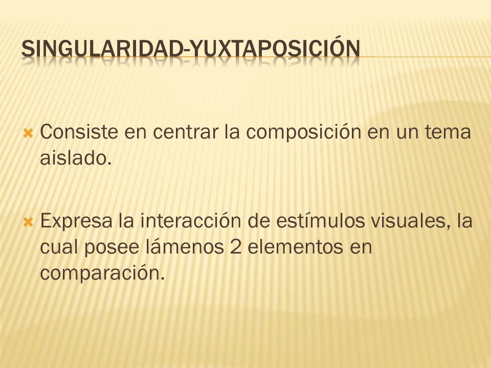 Consiste en centrar la composición en un tema aislado. Expresa la interacción de estímulos visuales, la cual posee lámenos 2 elementos en comparación.