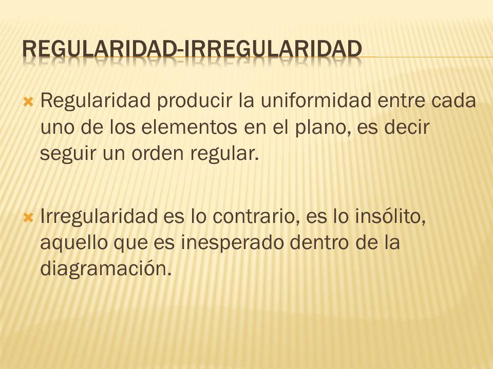 Regularidad producir la uniformidad entre cada uno de los elementos en el plano, es decir seguir un orden regular.