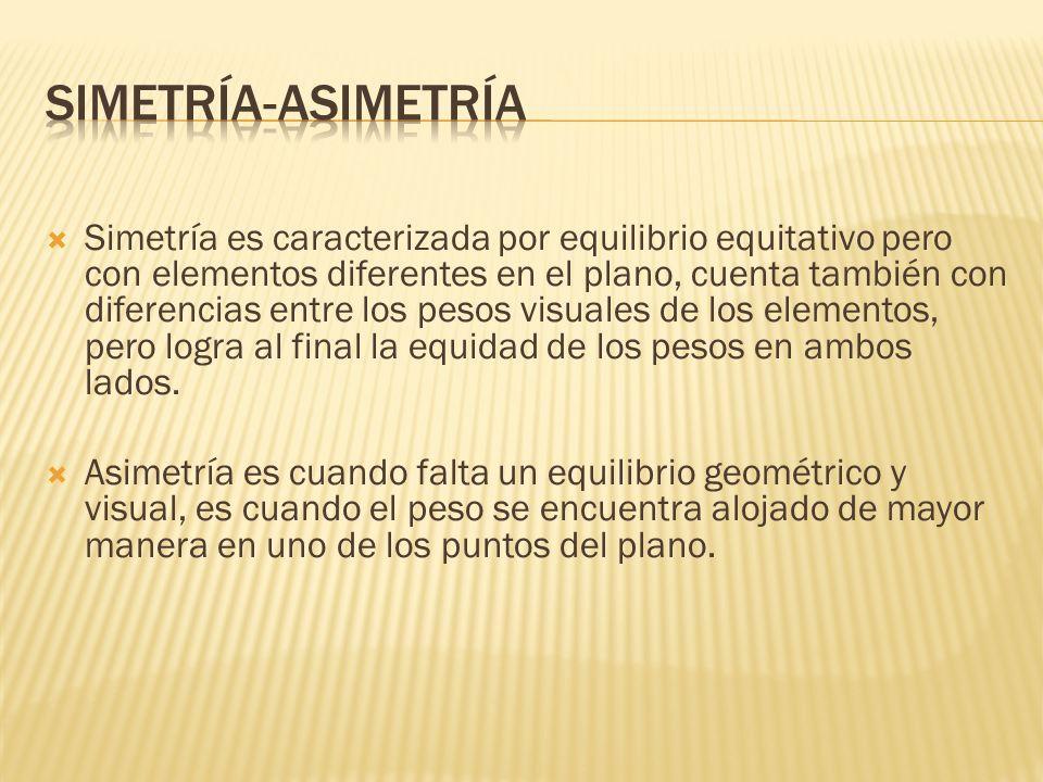 Simetría es caracterizada por equilibrio equitativo pero con elementos diferentes en el plano, cuenta también con diferencias entre los pesos visuales de los elementos, pero logra al final la equidad de los pesos en ambos lados.