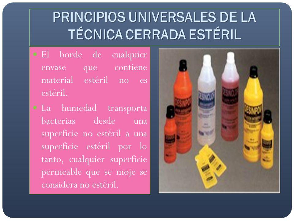 El borde de cualquier envase que contiene material estéril no es estéril. La humedad transporta bacterias desde una superficie no estéril a una superf