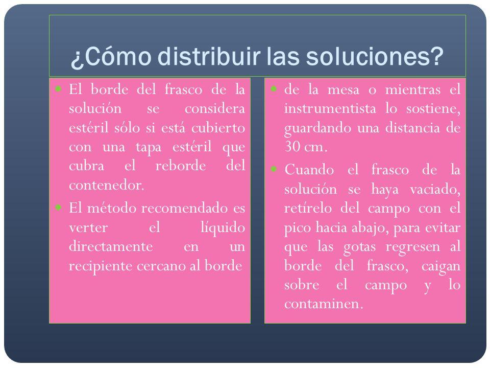 ¿Cómo distribuir las soluciones? El borde del frasco de la solución se considera estéril sólo si está cubierto con una tapa estéril que cubra el rebor