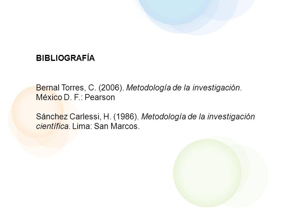 BIBLIOGRAFÍA Bernal Torres, C. (2006). Metodología de la investigación. México D. F.: Pearson Sánchez Carlessi, H. (1986). Metodología de la investiga