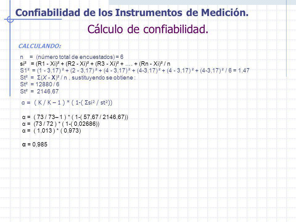 Confiabilidad de los Instrumentos de Medición. Cálculo de confiabilidad. CALCULANDO: n = (número total de encuestados) = 6 si² = (R1 - Xi)² + (R2 - Xi