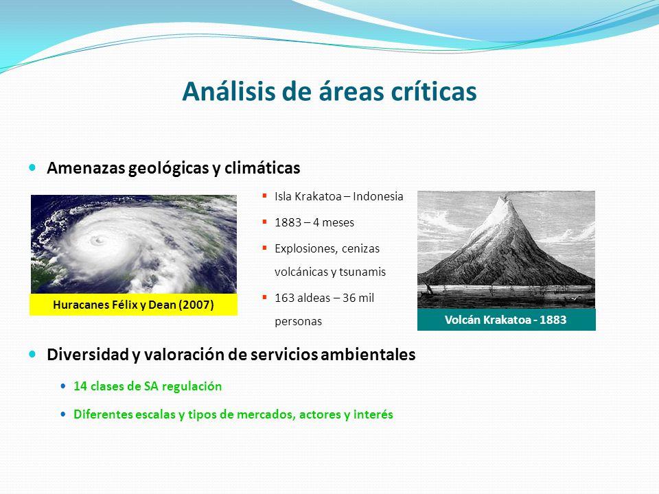 Análisis de áreas críticas Amenazas geológicas y climáticas Diversidad y valoración de servicios ambientales 14 clases de SA regulación Diferentes esc