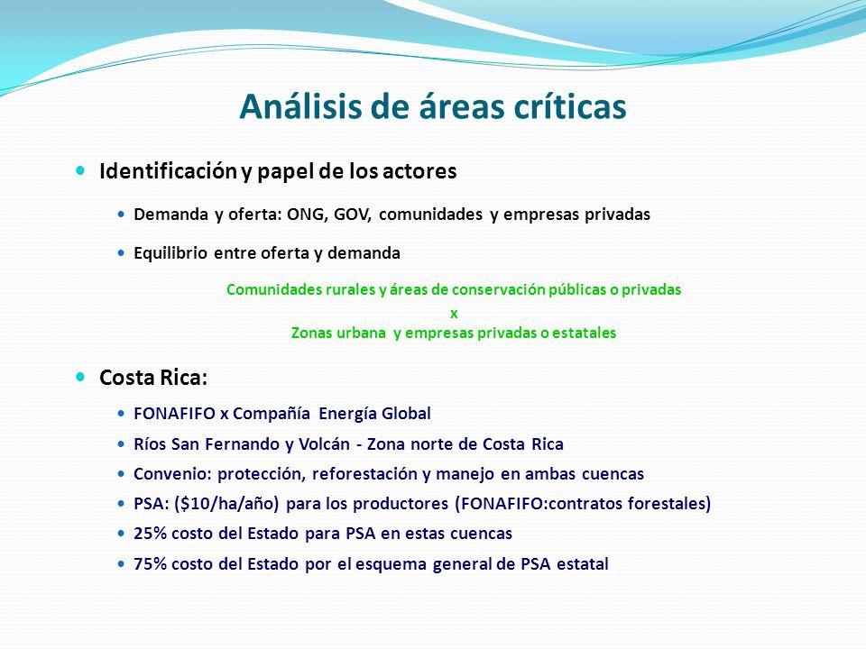 Análisis de áreas críticas Identificación y papel de los actores Demanda y oferta: ONG, GOV, comunidades y empresas privadas Equilibrio entre oferta y