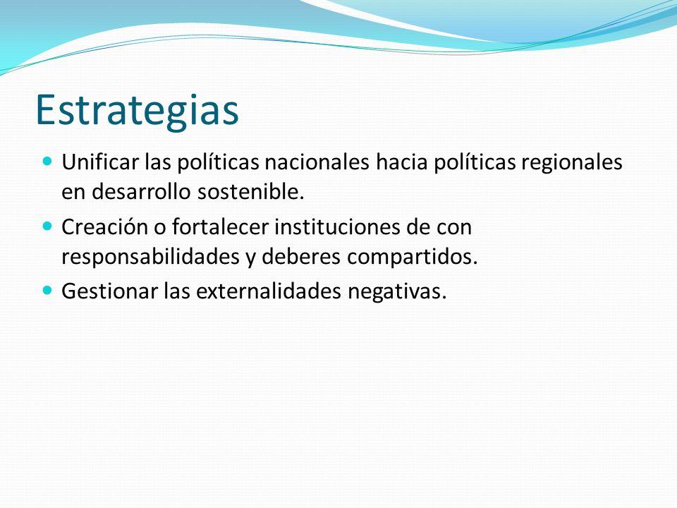 Estrategias Unificar las políticas nacionales hacia políticas regionales en desarrollo sostenible. Creación o fortalecer instituciones de con responsa