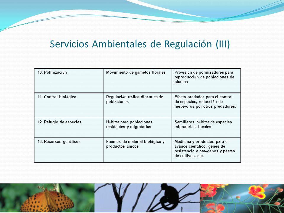 Servicios Ambientales de Regulación (III) 11. Control biol ó gicoRegulaci ó n tr ó fica din á mica de poblaciones Efecto predador para el control de e