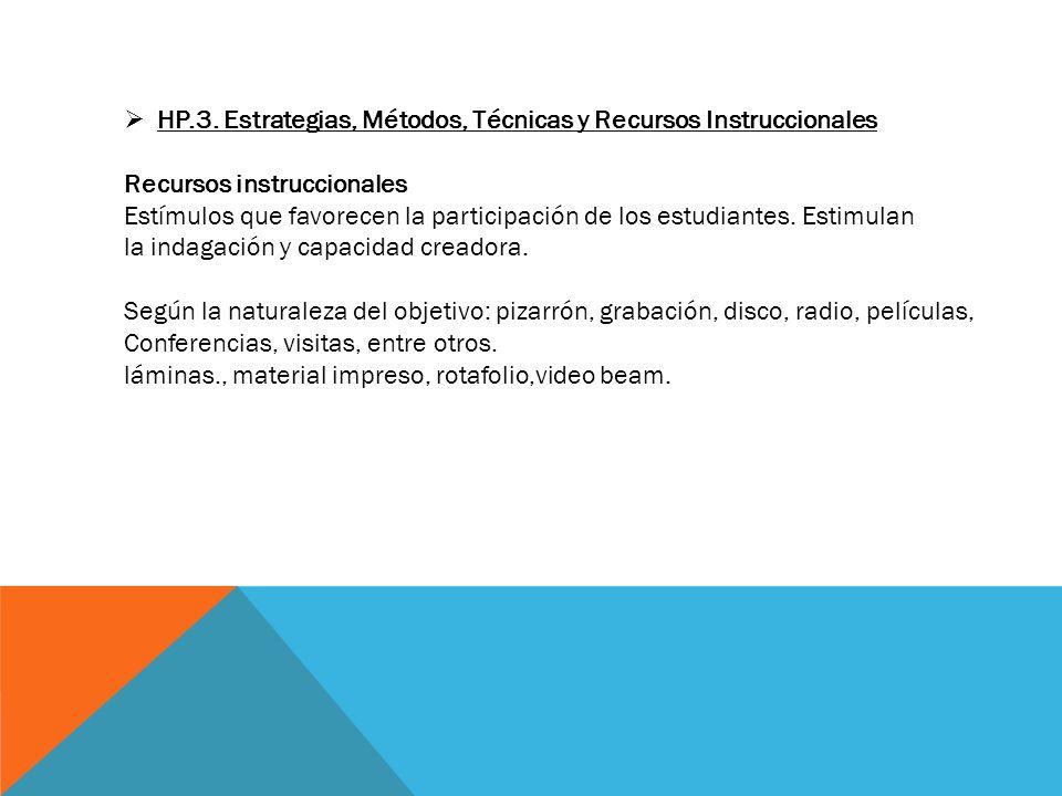 HP.3. Estrategias, Métodos, Técnicas y Recursos Instruccionales Recursos instruccionales Estímulos que favorecen la participación de los estudiantes.
