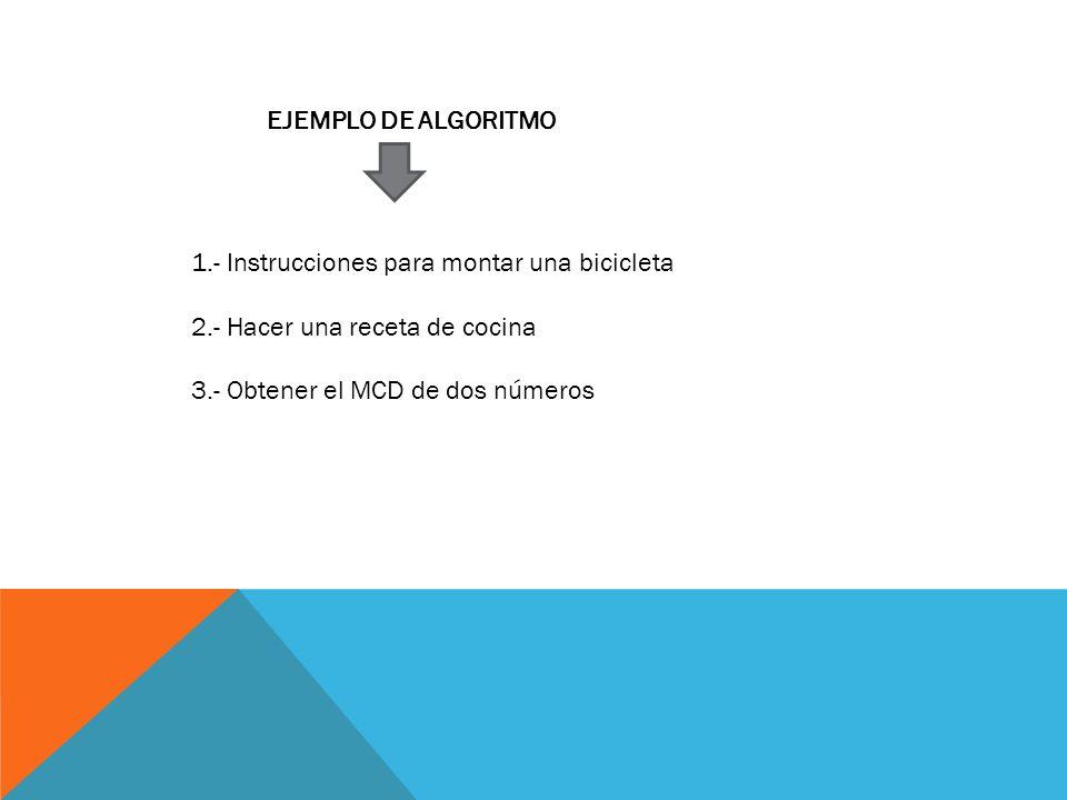 EJEMPLO DE ALGORITMO 1.- Instrucciones para montar una bicicleta 2.- Hacer una receta de cocina 3.- Obtener el MCD de dos números