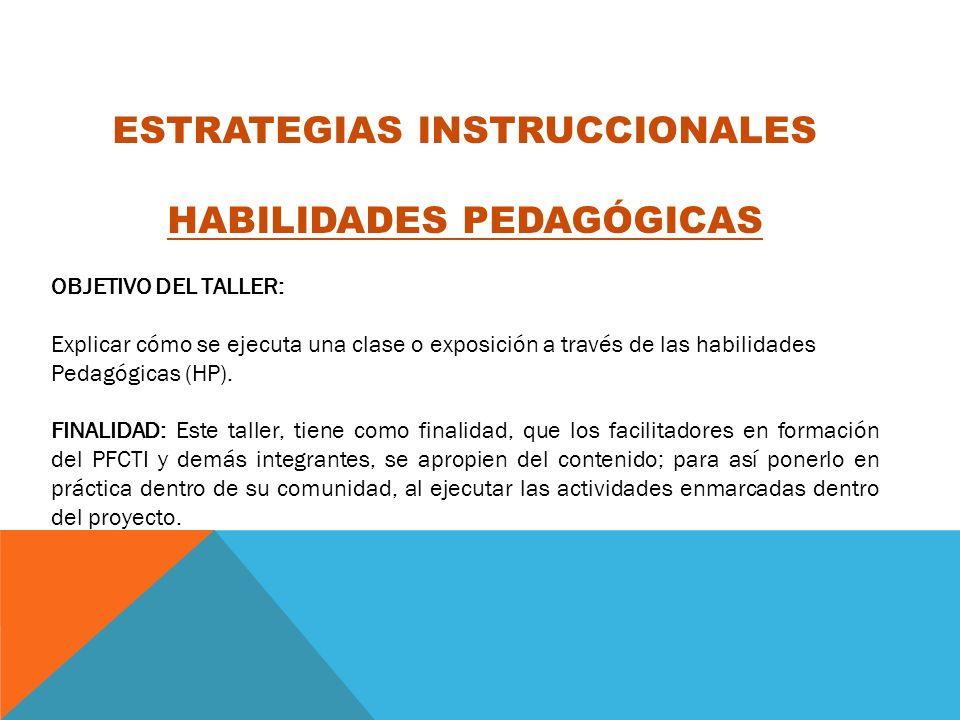 ESTRATEGIAS INSTRUCCIONALES HABILIDADES PEDAGÓGICAS OBJETIVO DEL TALLER: Explicar cómo se ejecuta una clase o exposición a través de las habilidades P