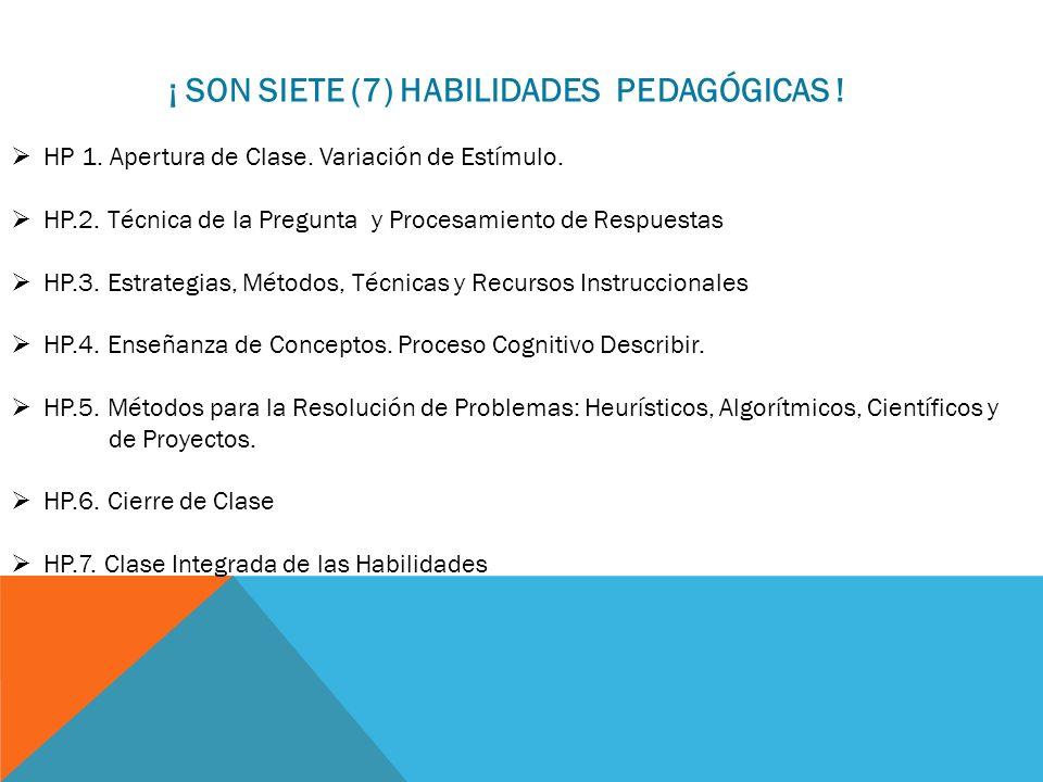 ¡ SON SIETE (7) HABILIDADES PEDAGÓGICAS ! HP 1. Apertura de Clase. Variación de Estímulo. HP.2. Técnica de la Pregunta y Procesamiento de Respuestas H
