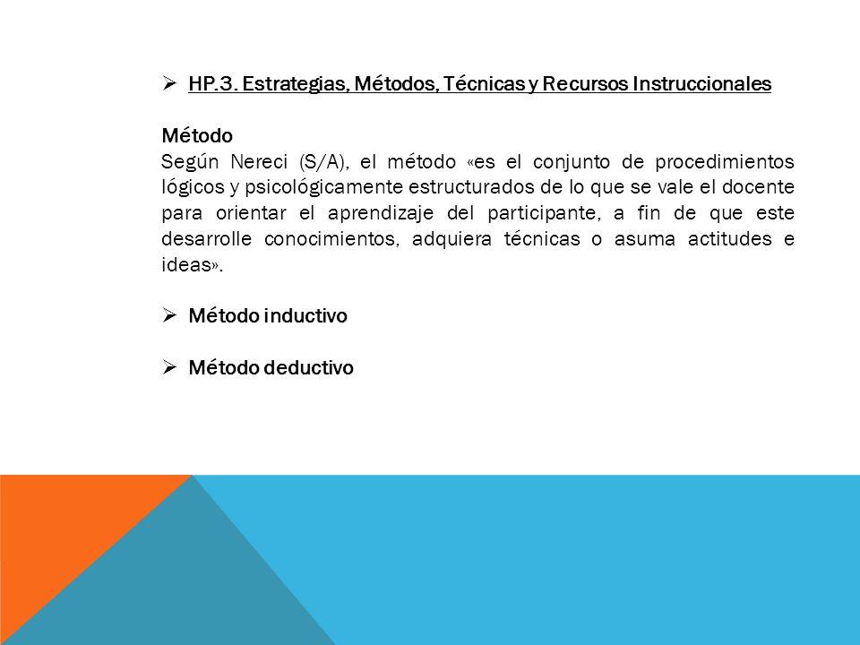 HP.3. Estrategias, Métodos, Técnicas y Recursos Instruccionales Método Según Nereci (S/A), el método «es el conjunto de procedimientos lógicos y psico