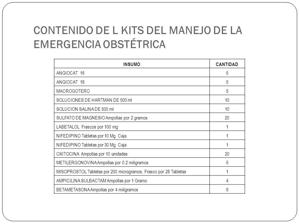 CONTENIDO DE L KITS DEL MANEJO DE LA EMERGENCIA OBSTÉTRICA INSUMOCANTIDAD ANGIOCAT 16 5 ANGIOCAT 18 5 MACROGOTERO 5 SOLUCIONES DE HARTMAN DE 500 ml 10