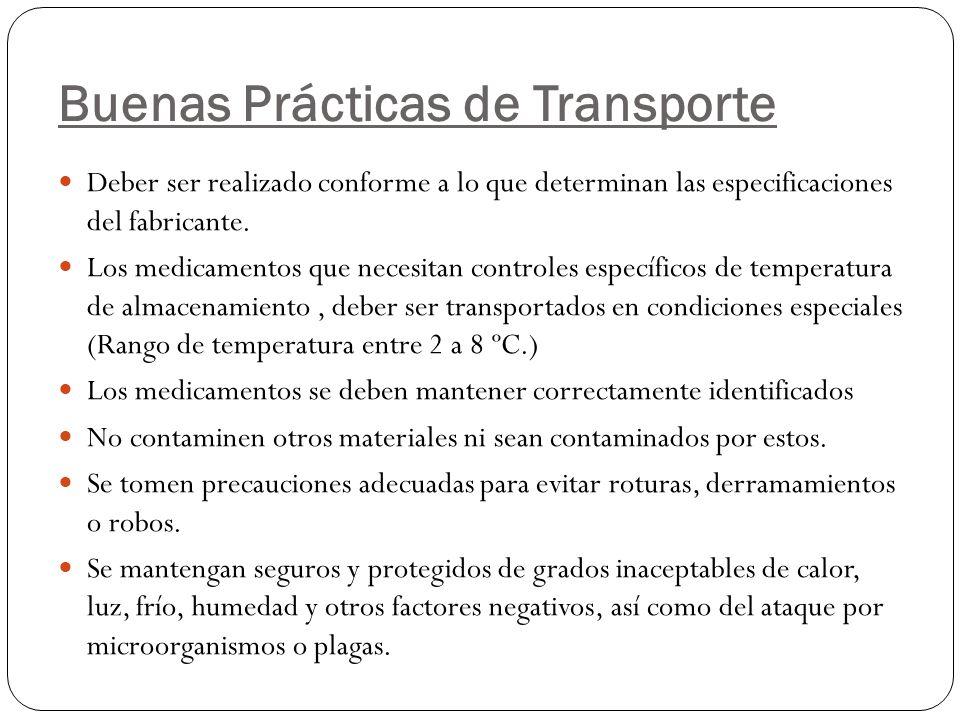 Buenas Prácticas de Transporte Deber ser realizado conforme a lo que determinan las especificaciones del fabricante. Los medicamentos que necesitan co