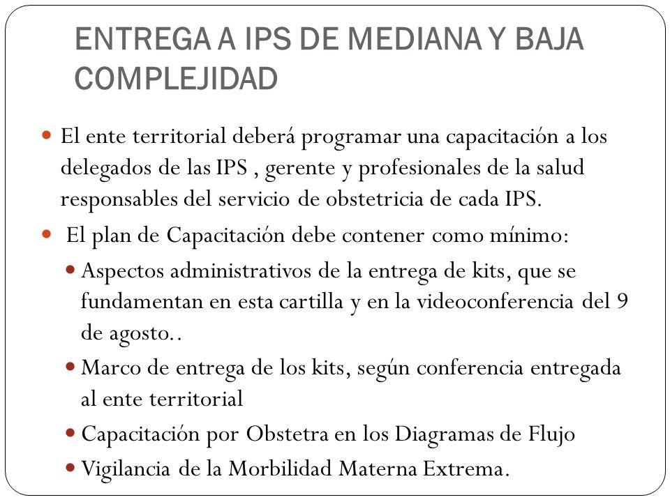 ENTREGA A IPS DE MEDIANA Y BAJA COMPLEJIDAD El ente territorial deberá programar una capacitación a los delegados de las IPS, gerente y profesionales
