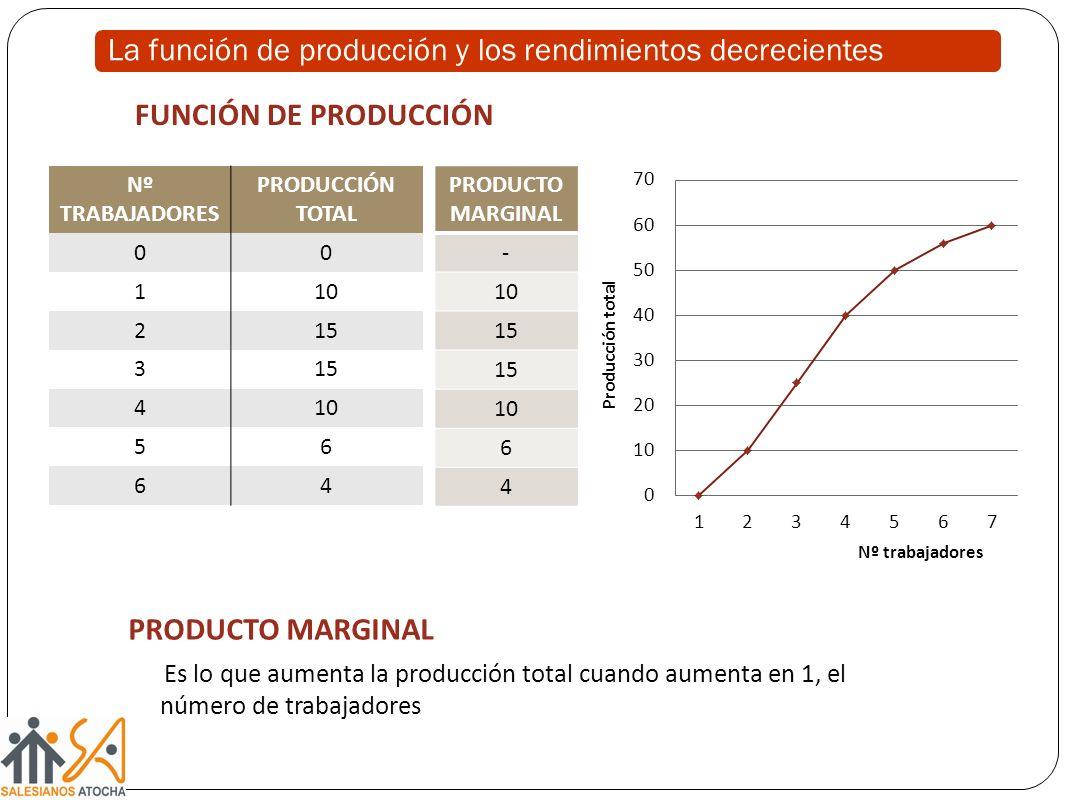 La función de producción y los rendimientos decrecientes Nº TRABAJADORES PRODUCCIÓN TOTAL 00 110 215 3 410 56 64 PRODUCTO MARGINAL - 10 15 10 6 4 Nº trabajadores PRODUCTO MARGINAL Es lo que aumenta la producción total cuando aumenta en 1, el número de trabajadores FUNCIÓN DE PRODUCCIÓN