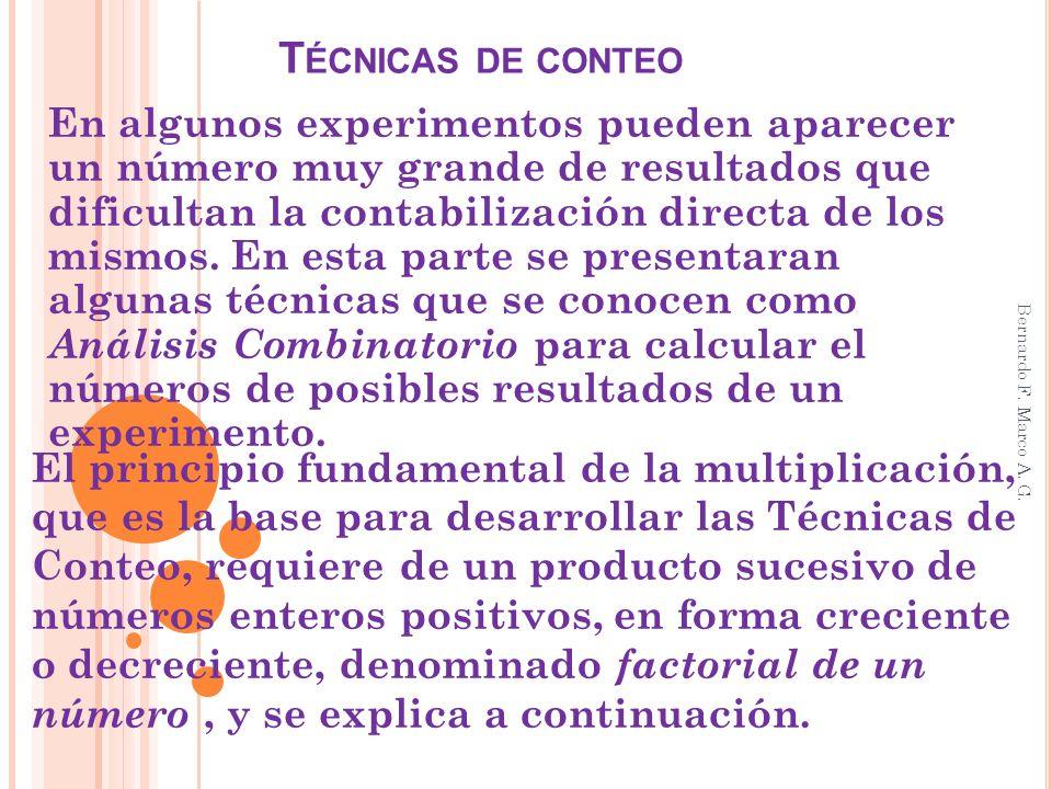 T ÉCNICAS DE CONTEO En algunos experimentos pueden aparecer un número muy grande de resultados que dificultan la contabilización directa de los mismos