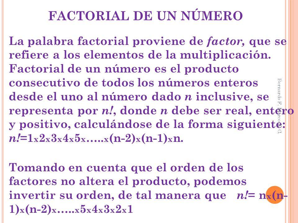 FACTORIAL DE UN NÚMERO La palabra factorial proviene de factor, que se refiere a los elementos de la multiplicación. Factorial de un número es el prod