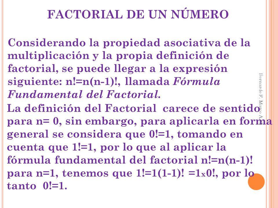 FACTORIAL DE UN NÚMERO Considerando la propiedad asociativa de la multiplicación y la propia definición de factorial, se puede llegar a la expresión s