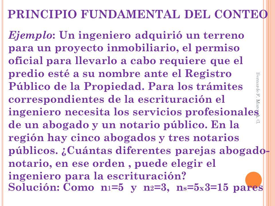 PRINCIPIO FUNDAMENTAL DEL CONTEO Ejemplo : Un ingeniero adquirió un terreno para un proyecto inmobiliario, el permiso oficial para llevarlo a cabo req