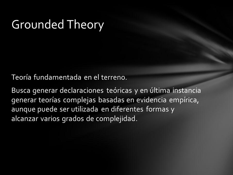 Teoría fundamentada en el terreno. Busca generar declaraciones teóricas y en última instancia generar teorías complejas basadas en evidencia empírica,