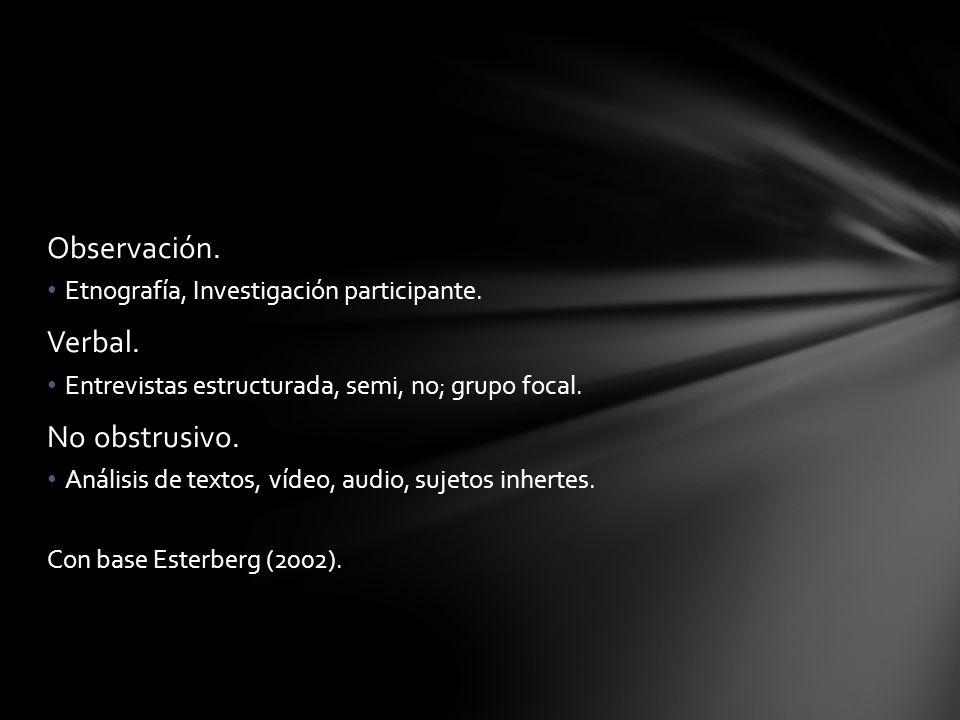 Observación. Etnografía, Investigación participante. Verbal. Entrevistas estructurada, semi, no; grupo focal. No obstrusivo. Análisis de textos, vídeo