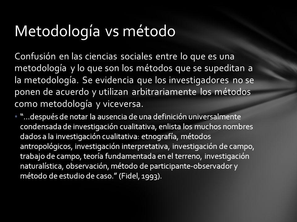 Confusión en las ciencias sociales entre lo que es una metodología y lo que son los métodos que se supeditan a la metodología. Se evidencia que los in