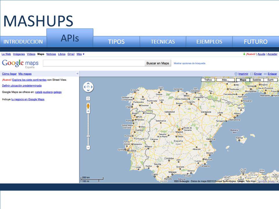 MASHUPS APIs TECNICAS INTRODUCCION TIPOS EJEMPLOS FUTURO
