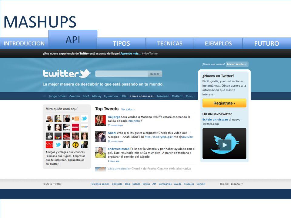 MASHUPS API TECNICAS INTRODUCCION TIPOS EJEMPLOS FUTURO